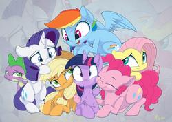 Size: 4971x3515   Tagged: safe, artist:mistydash, applejack, fluttershy, pinkie pie, rainbow dash, rarity, spike, twilight sparkle, alicorn, dragon, earth pony, pegasus, pony, unicorn, absurd resolution, baby, baby dragon, chest fluff, cuddle puddle, cuddling, cute, cutie mark, dashabetes, diapinkes, female, floppy ears, group photo, jackabetes, male, mane seven, mane six, mare, mistydash is trying to murder us, nuzzling, pony pile, prone, raribetes, shyabetes, signature, smiling, snuggling, spikabetes, twiabetes, twilight sparkle (alicorn), twilight sparkle gets all the mares, wide eyes, zoom layer