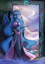 Size: 1556x2200 | Tagged: safe, artist:fidzfox, princess luna, alicorn, anthro, plantigrade anthro, :3, ankle bracelet, anklet, barefoot, beautiful, beautisexy, bedroom eyes, belly button, boob window, breasts, busty princess luna, cleavage, clothes, cloud, come hither, commission, constellation, crescent moon, dream walker luna, feet, female, goddess, hand behind back, legs, loincloth, looking at you, mare, midriff, moon, portal, skimpy outfit, smiling, solo, spread wings, toes, wings
