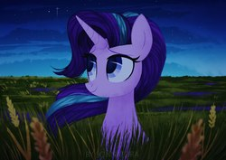 Size: 1491x1055 | Tagged: safe, alternate version, artist:sonnatora, starlight glimmer, pony, unicorn, adventure in the comments, cloud, cute, featured image, female, field, glimmerbetes, grass, lidded eyes, looking up, mare, night, scenery, scenery porn, sitting, sky, smiling, solo, stars, wheat, windswept mane