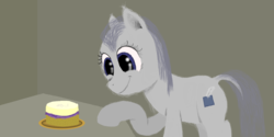 Size: 2048x1024 | Tagged: artist:onil innarin, cake, cute, dock, eyes on the prize, female, fluffy, food, mare, oc, oc only, oc:slate pie, pony, safe, smiling, solo