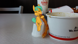 Size: 1280x720 | Tagged: safe, artist:kryptchild, snails, pony, arby's, cute, diasnails, eating, food, french fries, glitter shell, irl, photo, ponies in real life, sitting, solo