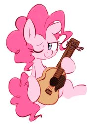 Size: 768x1024 | Tagged: safe, artist:akainu_pony, pinkie pie, earth pony, pony, honest apple, female, guitar, one eye closed, simple background, solo, wink
