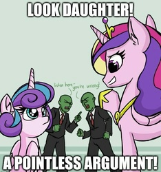 Size: 500x534   Tagged: safe, artist:plunger, princess cadance, princess flurry heart, oc, oc:anon, alicorn, human, pony, 4chan, argument, clothes, crown, dialogue, drawthread, eye contact, horseshoes, image macro, jewelry, looking at each other, meme, necktie, pants, peytral, pointing, regalia, shirt, suit