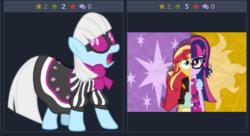 Size: 487x265 | Tagged: safe, photo finish, sci-twi, sunset shimmer, twilight sparkle, derpibooru, equestria girls, fusion, juxtaposition, juxtaposition win, meme, meta