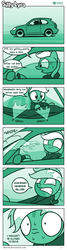 Size: 623x2335 | Tagged: artist:dori-to, car, clothes, comic, comic:silly lyra, dialogue, driving, female, greenscale, honda civic, hoodie, lyra heartstrings, mare, monochrome, pony, safe, silly lyra, sitting, solo, unicorn, water