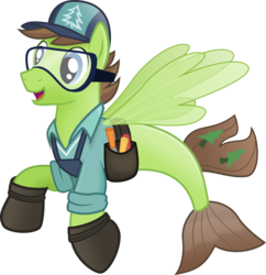Size: 788x814 | Tagged: artist:pacificgreen, cap, douglas spruce, evergreen, goggles, hat, hoof shoes, part of a set, safe, seaponified, seapony (g4), simple background, solo, species swap, svg, .svg available, toolbelt, transparent background, vector