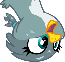 Size: 5000x4751   Tagged: safe, artist:dashiesparkle, gabby, griffon, .svg available, absurd resolution, bust, female, portrait, simple background, solo, transparent background, upside down, vector