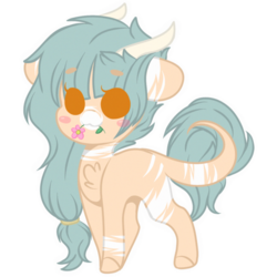 Size: 2048x2048 | Tagged: artist:cinnamontee, chibi, earth pony, female, high res, horns, mare, oc, oc:forest keeper, oc only, pony, safe, simple background, solo, transparent background