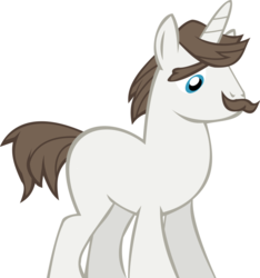 Size: 808x862 | Tagged: facial hair, hondo flanks, missing cutie mark, pony, safe, simple background, solo, white background