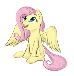 Size: 1544x1584 | Tagged: artist:theshadowstone, cute, female, fluttershy, looking up, mare, open mouth, pegasus, pony, safe, shyabetes, simple background, sitting, smiling, solo, spread wings, white background, wings