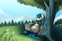 Size: 4117x2757 | Tagged: safe, artist:pridark, oc, oc only, oc:rain runner, oc:star, pegasus, pony, absurd resolution, against tree, commission, cute, forest, gay, grass, lying, male, mountain, on back, outdoors, pine tree, relaxing, scenery, smiling, stallion, tree, tree carving, under the tree
