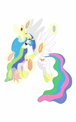 Size: 800x1280   Tagged: safe, artist:theroyalprincesses, princess celestia, pony, elements of harmony, female, flying, glowing horn, magic, simple background, solo, white background