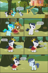 Size: 4550x7000 | Tagged: absurd res, alicorn, apple, apple tree, artist:cyanlightning, blushing, buttoncorn, button mash, cape, clothes, colt, comic, comic:cyan's adventure, crown, earth pony, female, filly, food, jewelry, king button mash, male, oc, oc:cyan lightning, pegasus, pony, regalia, rule 63, rumble, safe, scarf, shady daze, .svg available, tree, unicorn, vector