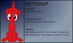 Size: 3876x2329 | Tagged: safe, artist:badumsquish, derpibooru exclusive, oc, oc only, condiment pony, food pony, original species, pony, bio, female, food, gradient background, grin, happy, ketchup, looking at you, open mouth, ponified, sauce, sitting, smiling, solo