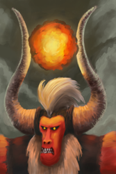 Size: 1000x1500 | Tagged: angry, artist:sycreon, bust, fire, horns, lord tirek, magic, male, pony, portrait, safe, solo, twilight's kingdom