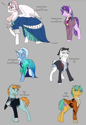 Size: 1313x1914 | Tagged: safe, artist:stuflox, double diamond, snails, snips, starlight glimmer, trixie, pony, alexei orlov, catherine the great, clothes, count orlov, dress, female, half r63 shipping, male, older, princes elizabeth, raised hoof, reference sheet, rule 63, shipping, startrix, stellar gleam, straight, trixgleam, trixie's fans