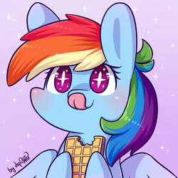 Size: 1024x1024 | Tagged: safe, artist:dsp2003, rainbow dash, pegasus, pony, big ears, bipedal, blushing, chibi, cute, daaaaaaaaaaaw, dashabetes, dsp2003 is trying to murder us, eating, featured image, female, food, hnnng, hoof hold, licking, licking lips, mare, mlem, pink background, simple background, smiling, solo, sparkles, spread wings, starry eyes, style emulation, sugar wafers, sweet dreams fuel, tongue out, wafer, wafer vs waffle debate in the comments, waffle, weapons-grade cute, wingding eyes, wings