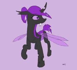 Size: 957x874 | Tagged: safe, artist:crazeguy, oc, oc only, oc:molybdenum, changeling, changeling oc, purple background, purple changeling, simple background, solo