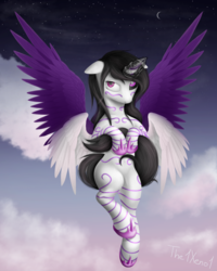 Size: 1000x1250 | Tagged: alicorn, alicorn oc, artist:the1xeno1, cloud, crescent moon, female, flying, mare, moon, multiple wings, oc, oc only, pony, safe, sky, solo, spread wings, wings