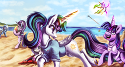 Size: 1024x547 | Tagged: alicorn, artist:shivannie, beach, blushing, bottomless, clothes, :d, doll, female, fluttershy, lesbian, magic, matching outfits, missing accessory, :p, partial nudity, pony, princess celestia, rainbow dash, rarity, running, safe, shipping, starlight glimmer, sunbathing, telekinesis, tongue out, toy, trixie, twilestia, twilight sparkle, twilight sparkle (alicorn)