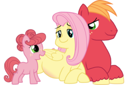 Size: 1024x684 | Tagged: artist:saukapie, big macintosh, female, fluttermac, fluttershy, male, oc, offspring, parent:big macintosh, parent:fluttershy, parents:fluttermac, pony, pregnant, safe, shipping, straight