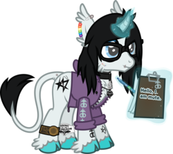Size: 1104x984 | Tagged: safe, artist:lightningbolt, derpibooru exclusive, oc, oc only, oc:silent suture, classical unicorn, pony, unicorn, .svg available, bring me the horizon, cheek fluff, chest fluff, choker, clipboard, clothes, cloven hooves, curved horn, dock, dock piercing, drop dead clothing, ear fluff, ear piercing, earring, emo, glasses, glowing horn, hair over one eye, hoodie, hoof fluff, jewelry, keychain, leonine tail, lip piercing, male, mute, necklace, paper, pen, piercing, pulled up sleeve, rainbow, safety pin, scar, simple background, smiling, solo, stallion, sticker, stitches, svg, tail fluff, tattoo, transparent background, unshorn fetlocks, unzipped, vector, wristband, zipper