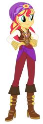 Size: 1701x4879 | Tagged: safe, artist:lifes-remedy, sunset shimmer, equestria girls, movie magic, spoiler:eqg specials, absurd resolution, boots, clothes, female, high heel boots, pants, shoes, simple background, solo, sunshim, transparent background, vector