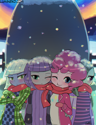 Size: 750x977 | Tagged: safe, artist:lumineko, limestone pie, marble pie, maud pie, pinkie pie, equestria girls, blushing, clothes, cold, holder's boulder, jacket, looking at you, one eye closed, pie sisters, scarf, shared clothing, shared scarf, siblings, sisters, smiling, snow, wink