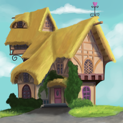Size: 1500x1500 | Tagged: artist:sycreon, background, house, no pony, ponyville, safe, sketch, solo