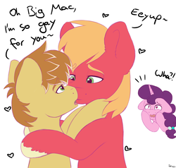Size: 2000x1900 | Tagged: safe, artist:spirit-dude, big macintosh, feather bangs, sugar belle, earth pony, pony, unicorn, hard to say anything, crying, feathermac, female, gay, gay in front of girls, kissing, male, mare, shipping, shipping denied, simple background, stallion