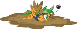 Size: 3542x1366 | Tagged: safe, artist:outlawedtofu, oc, oc only, oc:atom smasher, pegasus, pony, fallout equestria, fallout equestria: duck and cover, angry, faceplant, goggles, mud, muddy, scrunchy face, simple background, transparent background, vector