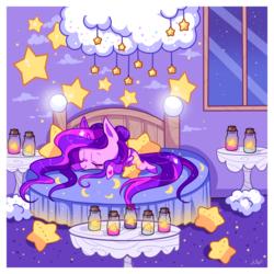 Size: 1200x1200   Tagged: safe, artist:ipun, oc, oc only, oc:hazel, alicorn, pony, alicorn oc, bed, bedroom, chibi, cloud, eyes closed, female, jar, mare, night, plushie, prone, sleeping, solo, stars, window