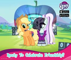Size: 940x788   Tagged: safe, applejack, coloratura, pony, countess coloratura, gameloft, my little pony logo