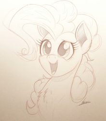 Size: 2000x2276 | Tagged: artist:ncmares, bust, chest fluff, earth pony, female, mare, monochrome, open mouth, pinkie pie, pony, portrait, safe, smiling, solo, traditional art