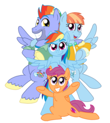 Size: 1850x2066 | Tagged: safe, artist:crazynutbob, bow hothoof, rainbow dash, scootaloo, windy whistles, pony, chest fluff, family, female, honorary sister, rainbow dash's parents, simple background, transparent background