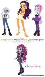 Size: 816x1386 | Tagged: safe, artist:prettycelestia, limestone pie, saffron masala, violet blurr, equestria girls, equestria girls-ified, four arms, fusion, gem fusion, multiple arms, steven universe