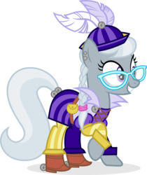 Size: 2001x2385   Tagged: safe, artist:punzil504, silver spoon, earth pony, pony, bard, clothes, crossover, dungeons and dragons, fantasy class, female, glasses, grin, mare, older, older silver spoon, simple background, smiling, solo, spoony bard, transparent background
