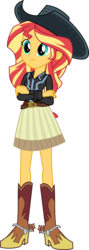 Size: 3000x8409 | Tagged: absurd res, artist:aqua-pony, beautiful, belt, boots, clothes, cowboy boots, cowboy hat, cowgirl, crossed arms, cute, dance magic, equestria girls, equestria girls series, female, five to nine, hat, high heel boots, safe, shimmerbetes, shoes, simple background, skirt, smiling, solo, spoiler:eqg specials, spurs, standing, stetson, sunset shimmer, transparent background, vector, woman
