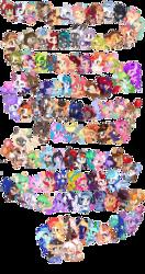 Size: 2500x4750 | Tagged: safe, artist:ipun, oc, oc only, oc:alpine frost, oc:amy amulet, oc:booker, oc:bunny bounce, oc:butter cream, oc:cherry bloom, oc:dark data, oc:dragon roll, oc:dream sweeper, oc:faith, oc:fancy fruit, oc:fay, oc:felicity, oc:freeze frame, oc:frost wave, oc:gleaming heart, oc:glittering cloud, oc:gracidea, oc:hazel, oc:heaven swirl, oc:lessi, oc:lorelei, oc:lucy softheart, oc:lunar arrow, oc:lunei, oc:melissa mittens, oc:midnight wish, oc:mojito puff, oc:painted paws, oc:paper stars, oc:precious metal, oc:reverie, oc:sina, oc:sombre sonata, oc:star drop, oc:star stitcher, oc:summer bloom, oc:vision revision, bat pony, earth pony, pegasus, pony, unicorn, bat pony oc, bow, chibi, cute, female, hair bow, heart eyes, hnnng, male, mare, ocbetes, simple background, smiling, stallion, transparent background, wingding eyes