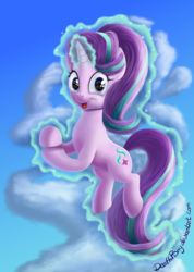 Size: 1423x2000 | Tagged: safe, artist:deathpwny, starlight glimmer, pony, unicorn, 8^y, clapping, cloud, cute, female, glimmerbetes, glowing horn, levitation, looking at you, magic, mare, mocking, open mouth, reflection, sarcasm, self-levitation, sky, smiling, smug, smuglight glimmer, solo, sparkles, starlight says bravo, telekinesis, wide eyes