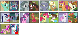 Size: 2100x1000 | Tagged: safe, artist:thepegasisterpony, apple bloom, big macintosh, button mash, fashion plate, featherweight, limestone pie, marble pie, maud pie, moonlight raven, pipsqueak, princess cadance, scootaloo, shining armor, sugar belle, sweetie belle, trenderhoof, trouble shoes, zephyr breeze, pony, crack shipping, female, gay, male, marbleshoes, pipbloom, scootaweight, shipping, straight, sugarmac, sweetiemash