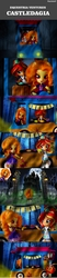 Size: 800x3880   Tagged: safe, artist:whatthehell!?, edit, adagio dazzle, sunset shimmer, gargoyle, comic:equestria ventures, equestria girls, castlevania, cemetery, comic, doll, equestria girls minis, food, forest, gate, irl, japanese, lantern, mansion, moon, night, photo, road, rope, sunset sushi, sushi, textless, toy, truck