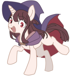 Size: 1206x1286 | Tagged: safe, pony, akko kagari, female, hat, little witch academia, ponified, redraw, show accurate, simple background, solo, transparent background, witch, witch hat
