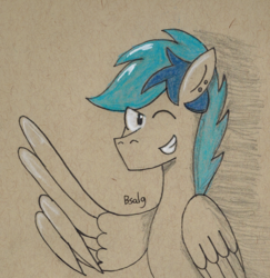 Size: 869x895 | Tagged: safe, artist:bsalg93, oc, oc only, oc:turquoise, pony, feather guns, one eye closed, smiling, solo, traditional art, wing hands, wink