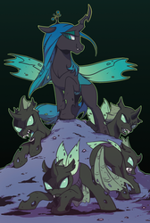 Size: 359x535 | Tagged: artist:yukandasama, changeling, changeling queen, crown, fangs, female, horn, jewelry, male, queen chrysalis, regalia, safe, smiling, snarling, spread wings, wings