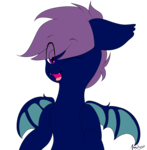Size: 1317x1342 | Tagged: artist:itwasscatters, bat pony, bat wings, male, oc, oc only, oc:system, one eye closed, pony, safe, simple background, stallion, transparent background, wink
