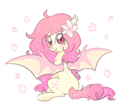 Size: 5000x4000 | Tagged: artist:kaikururu, bat pony, flower, oc, oc only, oc:rose glow, pony, safe, solo