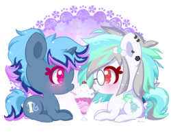 Size: 800x617 | Tagged: artist:exceru-karina, bat pony, bendy straw, duo, oc, oc only, oc:skyline grace, oc:snowdrift tundra, pony, safe, simple background, straw, transparent background