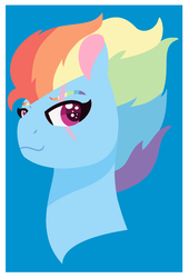 Size: 1024x1506 | Tagged: artist:chaserofthelight99, blue background, bust, older, pony, portrait, rainbow dash, safe, scar, simple background, solo