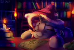 Size: 2000x1369 | Tagged: artist:discorded, artist:pirill, candle, collaboration, cute, diatrixes, female, hat, mare, night, nightcap, paper, pony, safe, sleeping, solo, trixie, trixie's nightcap, unicorn